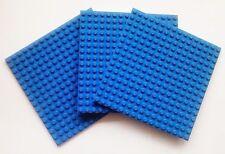 LEGO 3 x BLUE PLATES Base Boards 16x16 Pin -12.8cm x 12.8cm x 0.5cm -BRAND NEW