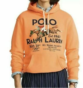 Polo Ralph Lauren Fleece Graphic RL Riding Academy Pullover Orange Small Hoodie