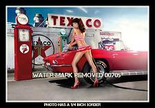 Vintage Pin Up Girl Texaco Corvette 8.5x11 Glossy Photo Picture Print