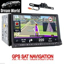 "7"" Double DIN Car Navigation GPS Map DVD Player IPOD Unit USB SD BT Radio + Cam"