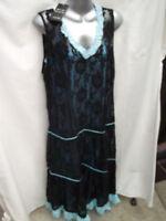 BNWT Womens Sz 14 Hot Ice Black/Blue Long Dress RRP $90