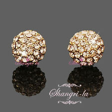 9K 9CT GF GOLD FILLED 3/4 BALL Stud EARRINGS w/ GOLDEN SWAROVSI CRYSTAL NY2687