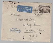 1928 Germany Graf Zeppelin LZ 127 Cover to Evanston IL  USA # C37