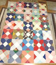 """USA Handmade Twin/Full Quilt-Patchwork X's Multi-Color  61"""" x 85"""""""