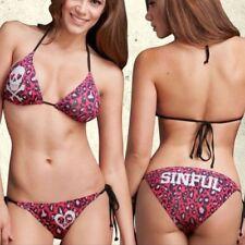 Sinful by Affliction ZEBRA FOIL Women/'s Swimwear Bikini White NEW S1648