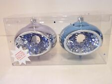 2 Lilac & Blue Glitter Tree Shatter Resistant 4.5 Inch Finial Ornament Christmas
