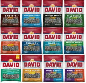 5.25oz DAVID Jumbo Sunflower Seeds Spicy Queso, Buffalo Ranch, BBQ, Jalapeño