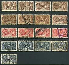 1934 Seahorse issue Waterlow, MH 5s + good used lot 13 x 2s6d, 9 x 5s, 3 x 10s