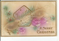 CA-242 A Merry Christmas Embossed Birds with Pentagon Divided Back Postcard