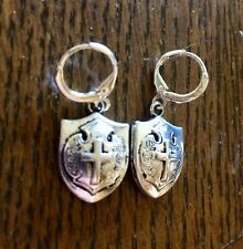 Tibetan Silver Shield Charm Earrings