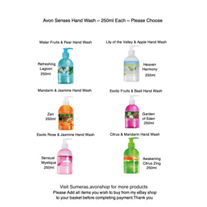 Avon Senses Daily Hand Wash ~Various 250ml Each ~ Free P&P