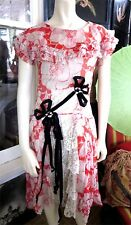 VTG 1920s AMAZING ORANGE SILK ART DECO POPPY PRINT BEADED FLAPPER DRESS ROSETTES