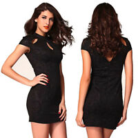 Evening Clubwear Cocktail Party Dress Short Cap Sleeve Embossed Floral Bodycon