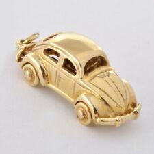 Vintage 14 K Solid Gold 3 D Mini Volkswagen Beetle Charm  Wheel Moves 6.6 Grms.
