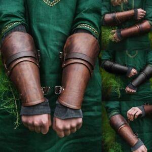 2PCS Arm Guard Bracers Faux Leather Forearm Guards Medieval Roman Vambraces