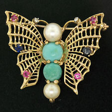 14k Yellow Gold Open Turquoise Pearl Sapphire Ruby Diamond Butterfly Brooch Pin