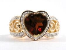 R185 Genuine 9ct SOLID Gold NATURAL Garnet & Diamond Heavy HEART Ring LOVE sz N