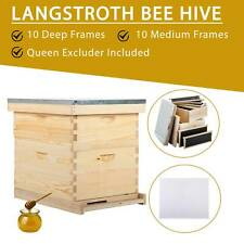 Beehive Hive Bee Hive Frames 10-Frame Queen Excluder 1 Medium Box 1 Deep Box