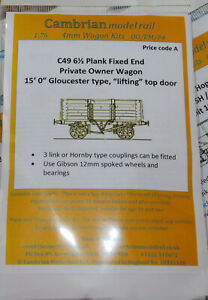 CAMBRIAN C49 10ton  6 1/2 PLANK FIXED END  15' GLOS TYPE 1907 KIT   NEW OO GAUGE