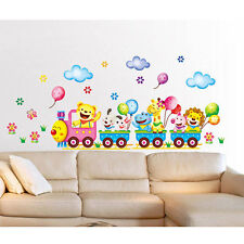 Hot Cartoon Wall Stickers Cute Animal Train Balloon Kid Bedroom Home DIY Decor