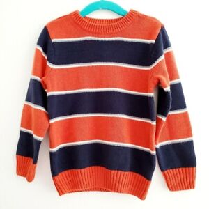 The Children's Place Size XS/ 4 Orange Navy Blue Striped Knit Sweater Crew Neck