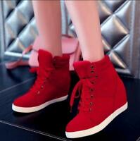 Womens Wedge Hidden Heel High Top Lace Up Athletic Sneakers Ankle Boots Shoes #
