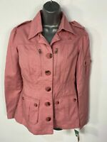 BNWT WOMENS JENNIFERR LOPEZ SMALL ROSE SMALL ZIP UP CASUAL UTILITY COAT JACKET