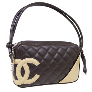 CHANEL Cambon Line Quilted CC Hand Bag 9415223 Purse Brown Beige Leather 35392
