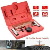 57Pcs Tire Repair Tools Kit Plug Flat and Punctured Tires For Car Motorcycle ATV