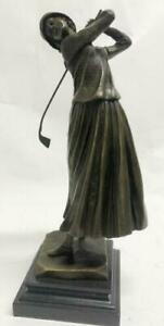 Golf Lover Mother`s Day Female Golfer Club Bag Bronze Marble Sculpture Statue NR