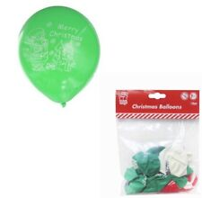 18 x Merry Christmas Printed Red Green White Latex Balloons Santa Xmas Decoratio