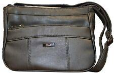 Lorenz Black PU Leather Multi Zipped Pocket Handbag Crossbody Shoulder Tote Bag