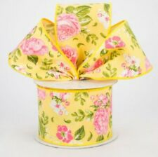 """💐 5 Yds ~ 2.5"""" Wide Spring Floral Print on Yellow Canvas  *DESIGNER RIBBON*"""
