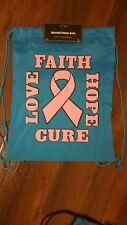 Breast Cancer Awareness Backpack Aqua nylon backpack travel shoulder drawstring
