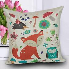 "18"" Vintage Fox Print Linen Sofa Bed Home Decor Pillow Case Cushion Cover Throw F# Row of Foxes"
