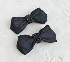Vintage Black Bow Shoe Clips Tiny Black Glass Beads