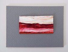 "REDDISH PINK DESERT Miniature Landscape Acrylic Painting 1""x2"" Julia Garcia NEW"
