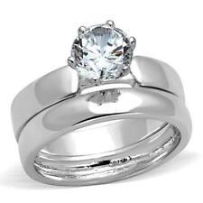 3W805  WOMENS WEDDING BAND SET ENGAGEMENT RING 2PC PLAIN SOLITAIRE RHODIUM