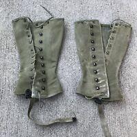 WW2 US Vintage Military Army Leggings,Gaiters,Spats; Canvas. Original.