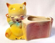 "Vintage Shawnee Planter Three Little Pigs Story Book Yellow Red Ceramic 5"" x 7"""
