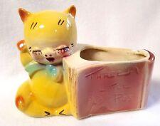 "Vintage Shawnee Planter Three Little Pigs Story Book Yellow Red Ceramic 5"" x 7"""
