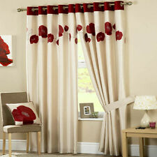 RING TOP LINED PAIR EYELET POPPY READY MADE CURTAINS RED CREAM LUXURY FLORAL