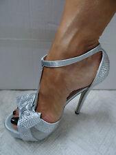 Sandalias De Mujer Tacones Reino Unido 4 Plata Cristal Tacones fetiche Clubbing Zapatos De Baile-Nuevo