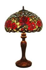 """Stained Glass Amora Lighting AM1535TL16 Red Roses Table Lamp 24"""" Handcrafted New"""