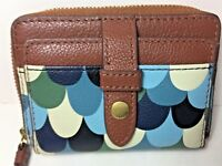 Fossil Women's Wallet Fiona Zip Coin Mini ID Leather Multicolor SL7705 NWT