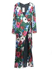 Zara Woman Floral Print Velvet Kimono Dress Size Medium