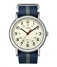 Timex T2N654 Men Weekender Watch Blue Gray Nylon Strap Indiglo Quartz Buckle