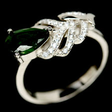NATURAL 6 X 9mm. CHROME GREEN DIOPSIDE& WHITE CZ STERLING 925 SILVER RING SZ 8