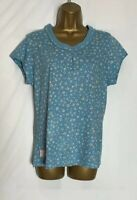 Brakeburn Blue Floral Print Cotton Stretch Jersey Top Size 12  (hs-10)