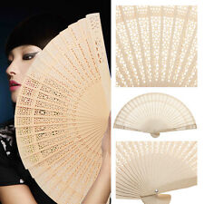 1Pc Chinese Style Wooden Carved Hollow Foldable Hand Fan Craft Gifts Accessory